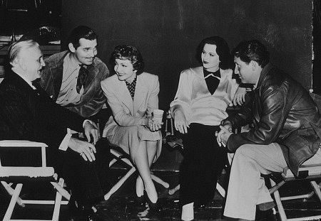 On the set of Boomtown 1940, Frank Morgan, Clark Gable, Claudette Colbert, hedy lamarr,  and  Spencer